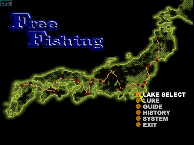 Menu screen of the game Lake Masters Pro on Sony Playstation