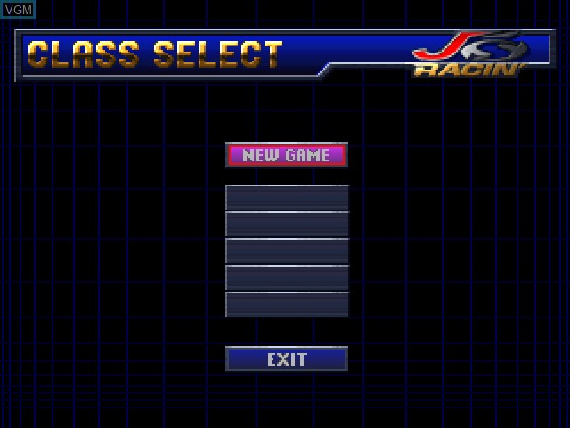 Menu screen of the game J's Racin' on Sony Playstation