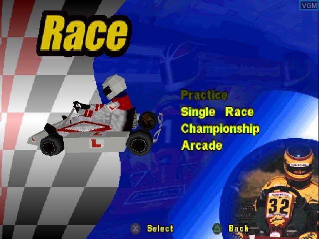 Menu screen of the game Formula Karts - Special Edition on Sony Playstation