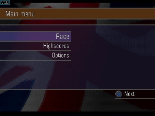 Menu screen of the game London Racer II on Sony Playstation