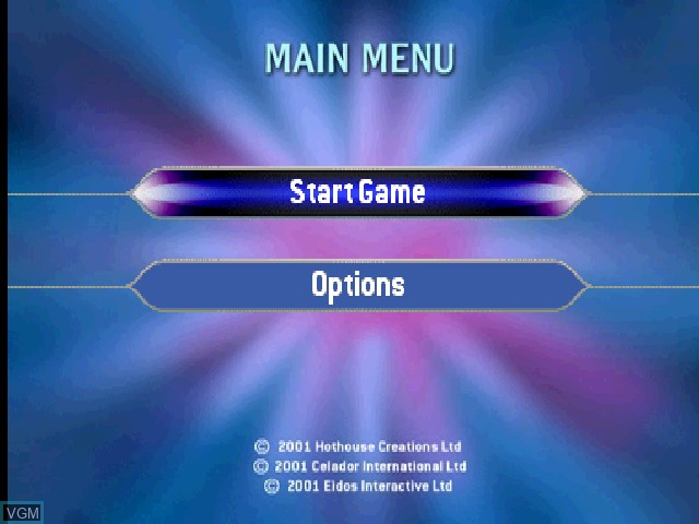 Menu screen of the game Who Wants to Be a Millionaire - Junior on Sony Playstation