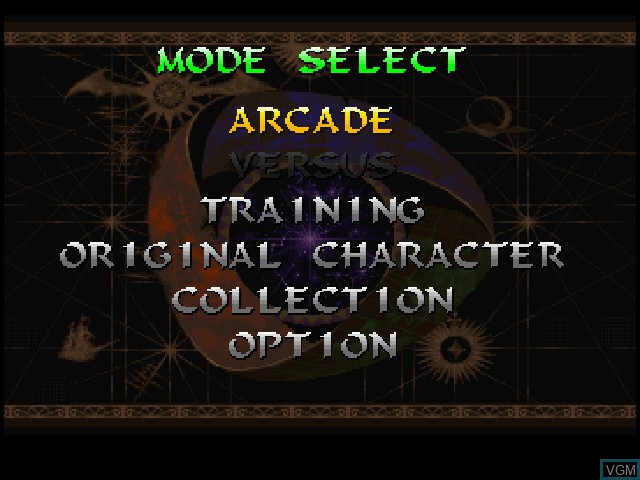 Menu screen of the game Darkstalkers 3 on Sony Playstation