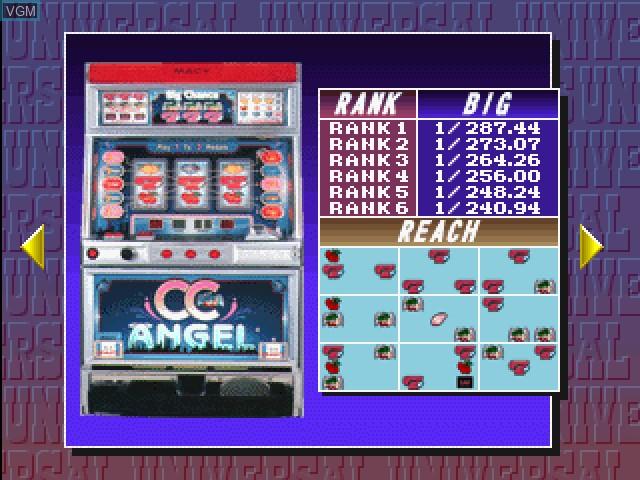 Menu screen of the game Pachi-Slot Kanzen Kouryaku - Universal Koushiki Gaido Vol. 1 on Sony Playstation