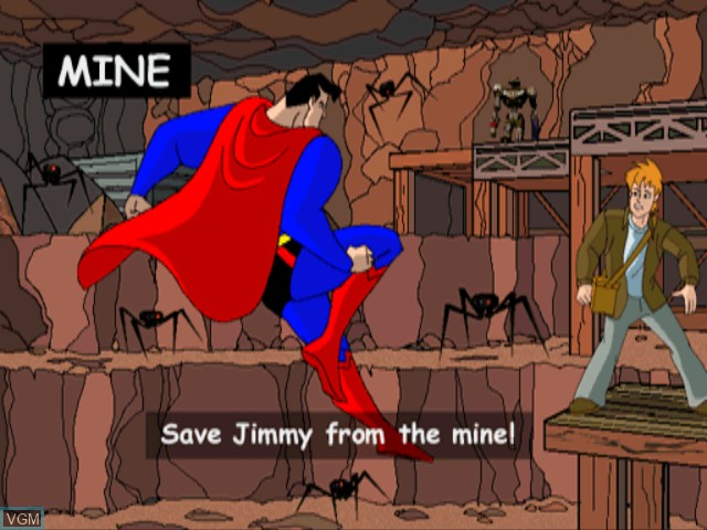 Menu screen of the game Superman on Sony Playstation