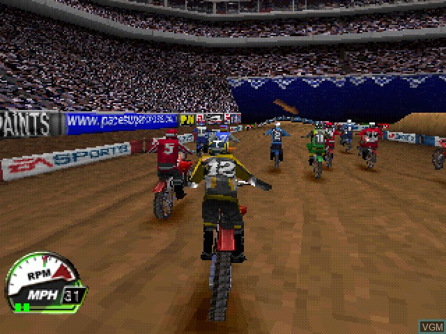 In-game screen of the game EA Sports Supercross 2000 on Sony Playstation