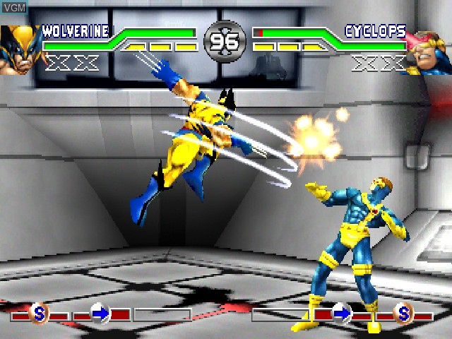 In-game screen of the game X-Men - Mutant Academy on Sony Playstation