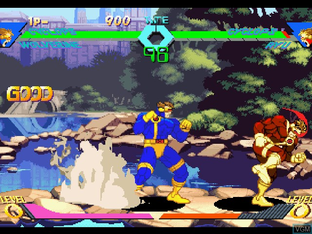 In-game screen of the game X-Men vs. Street Fighter on Sony Playstation