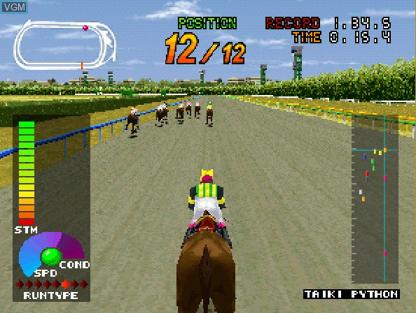 In-game screen of the game Gallop Racer on Sony Playstation