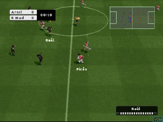 In-game screen of the game FIFA Football 2003 on Sony Playstation