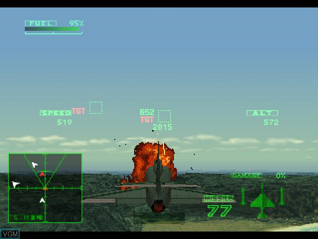 In-game screen of the game Ace Combat 2 on Sony Playstation