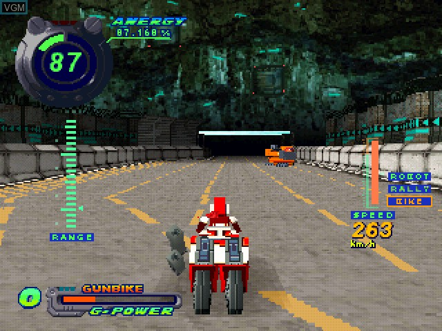 In-game screen of the game Kahen Soukou Gunbike on Sony Playstation