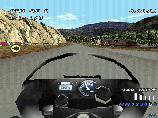 In-game screen of the game Castrol Honda Superbike Racing on Sony Playstation