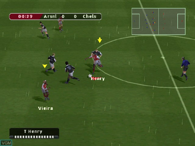 In-game screen of the game FIFA Football 2005 on Sony Playstation