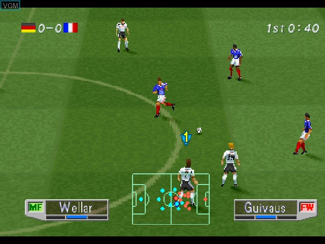 In-game screen of the game International Superstar Soccer Pro '98 on Sony Playstation