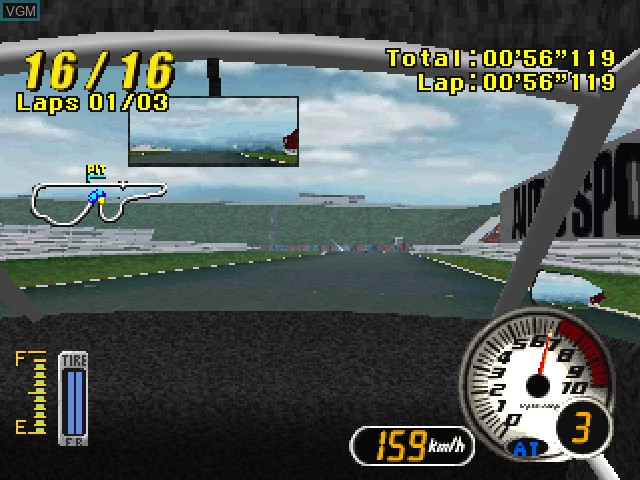 In-game screen of the game Advan Racing on Sony Playstation