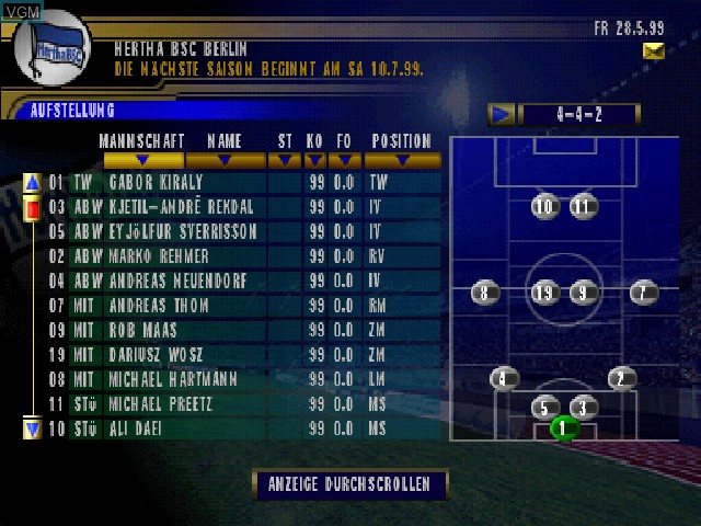 F.A. Premier League Football Manager 2000, The