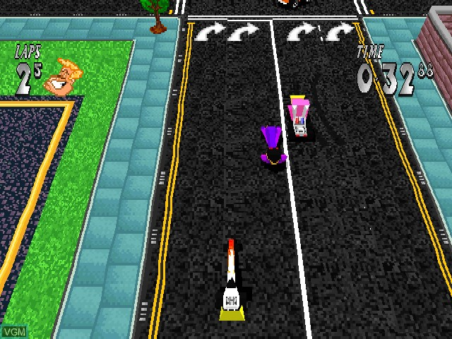 In-game screen of the game Dare Devil Derby 3D on Sony Playstation