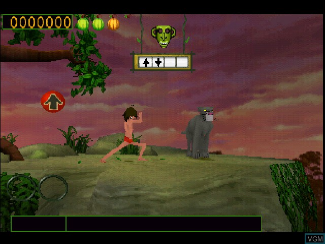 In-game screen of the game Walt Disney's The Jungle Book - Rhythm n' Groove on Sony Playstation