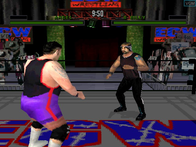 In-game screen of the game ECW Anarchy Rulz on Sony Playstation