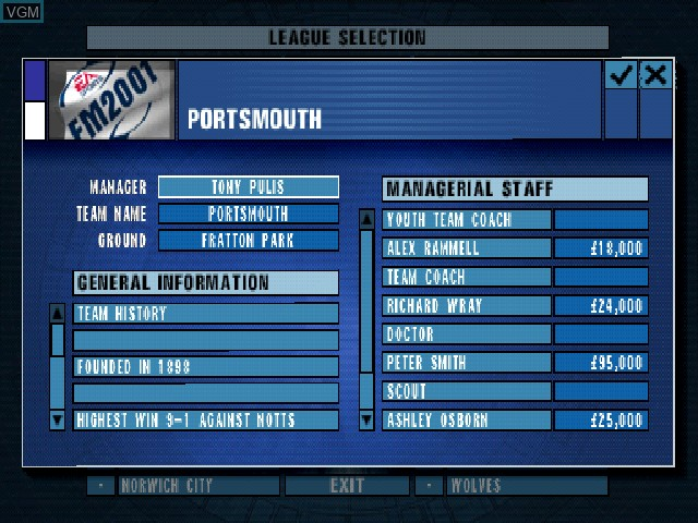 F.A. Premier League Football Manager 2001, The