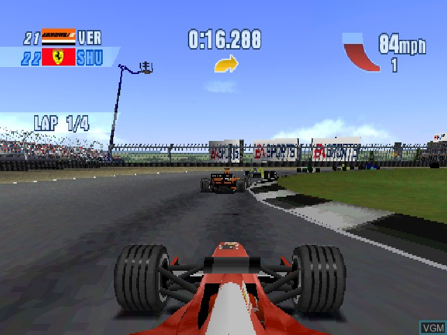 In-game screen of the game F1 Championship Season 2000 on Sony Playstation