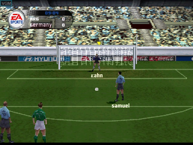 In-game screen of the game FIFA Football 2002 on Sony Playstation