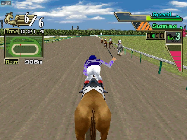 In-game screen of the game G1 Jockey 2000 on Sony Playstation