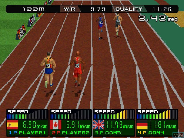 In-game screen of the game Ganbare! Nippon! Olympic 2000 on Sony Playstation