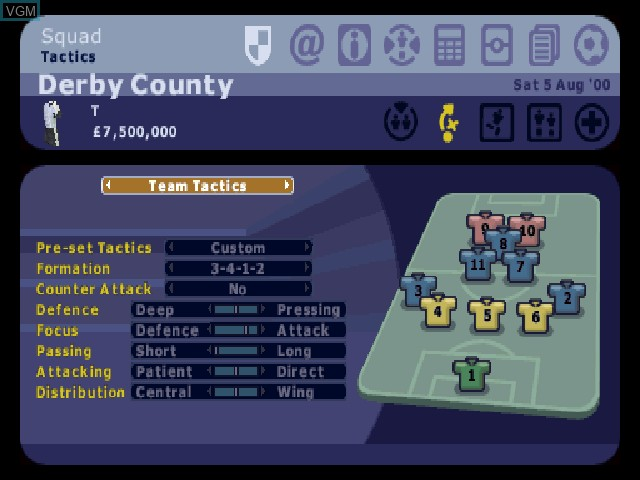 In-game screen of the game LMA Manager 2001 on Sony Playstation