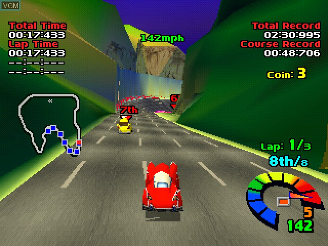 In-game screen of the game Motor Toon Grand Prix on Sony Playstation