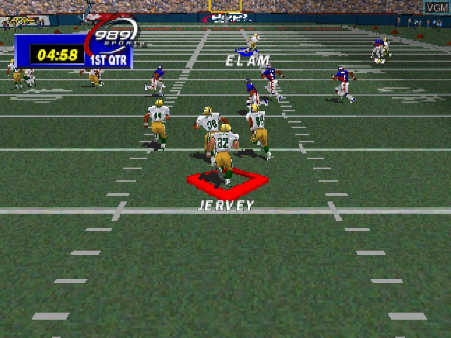 In-game screen of the game NFL GameDay 99 on Sony Playstation