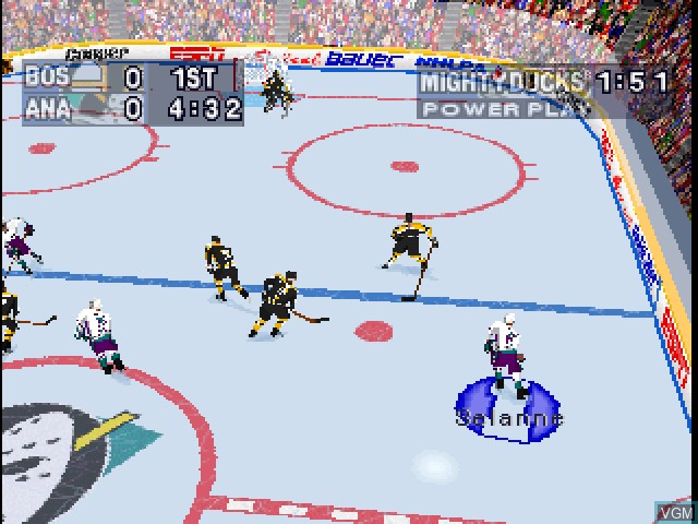In-game screen of the game NHL Powerplay '96 on Sony Playstation