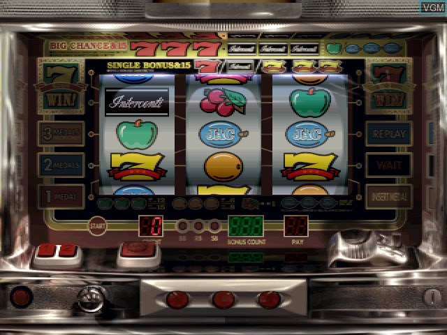 In-game screen of the game Pachi-Slot Aruze Oukoku 5 on Sony Playstation