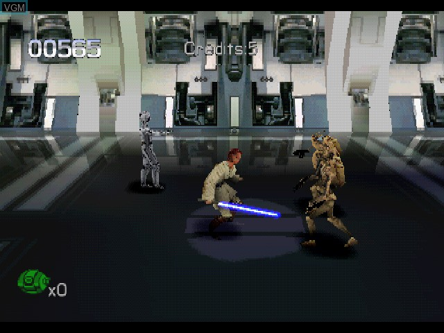 In-game screen of the game Star Wars - Episode I - Jedi Power Battles on Sony Playstation