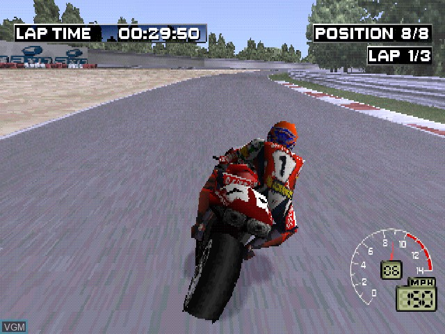 In-game screen of the game EA Sports Superbike 2000 on Sony Playstation