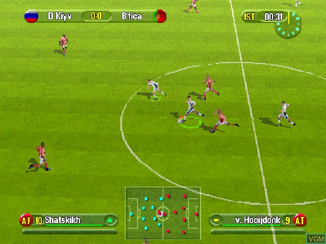 In-game screen of the game UEFA Challenge on Sony Playstation