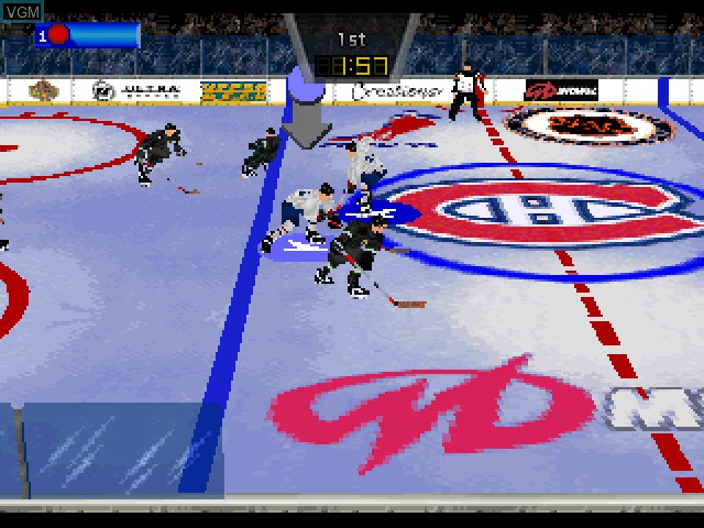 In-game screen of the game Wayne Gretzky's 3D Hockey '98 on Sony Playstation