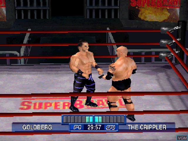 In-game screen of the game WCW Mayhem on Sony Playstation