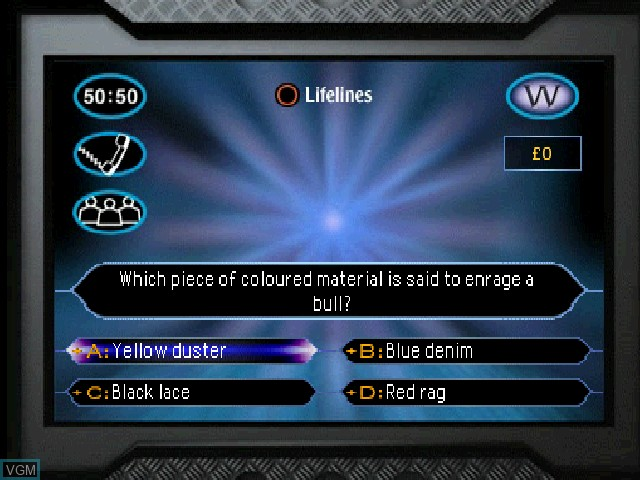In-game screen of the game Who Wants to Be a Millionaire on Sony Playstation