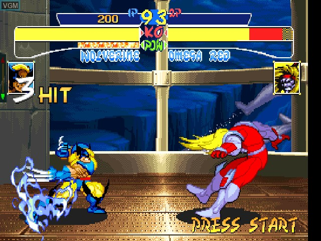 In-game screen of the game X-Men - Children of the Atom on Sony Playstation