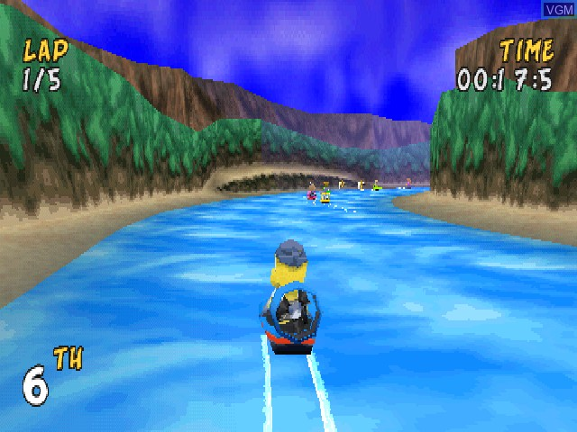 In-game screen of the game XS Airboat Racing on Sony Playstation
