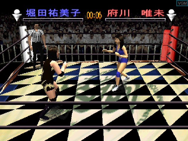In-game screen of the game Zen Nihon Joshi Pro Wrestling - Joou Densetsu - Yume no Taikousen on Sony Playstation