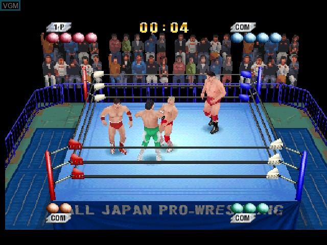 In-game screen of the game Zen-Nippon Pro Wrestling - Ouja no Kon on Sony Playstation