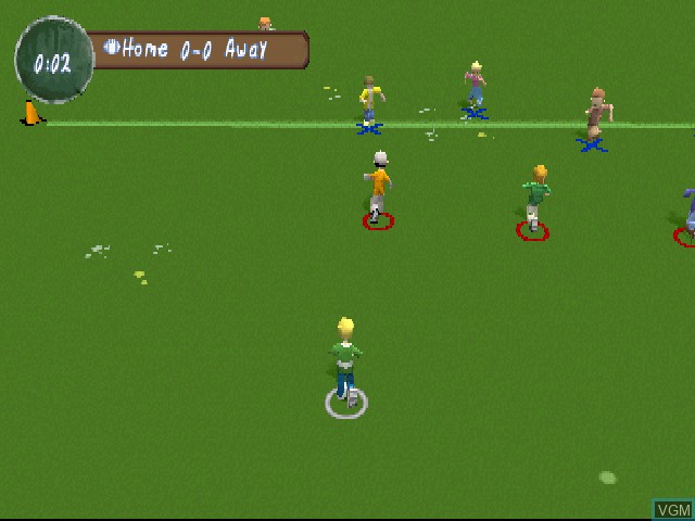 In-game screen of the game XS Junior League Football on Sony Playstation