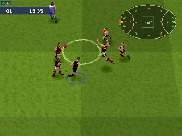 In-game screen of the game AFL 99 on Sony Playstation