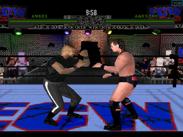 In-game screen of the game ECW Hardcore Revolution on Sony Playstation