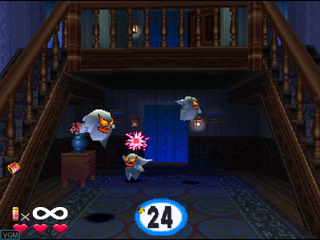 In-game screen of the game Ghoul Panic on Sony Playstation