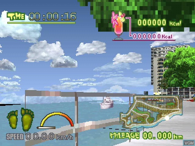 In-game screen of the game Happy Jogging in Hawaii on Sony Playstation