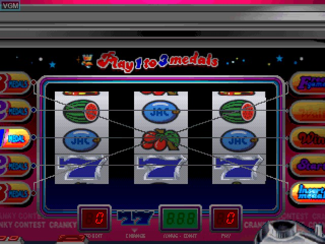 In-game screen of the game Pachi-Slot Kanzen Kouryaku - Cranky Pro on Sony Playstation