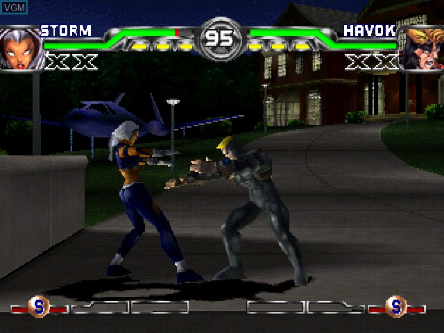 In-game screen of the game X-Men - Mutant Academy 2 on Sony Playstation